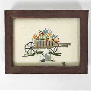 Vintage Framed Cross Stitch Hand Made 1981 Flowers
